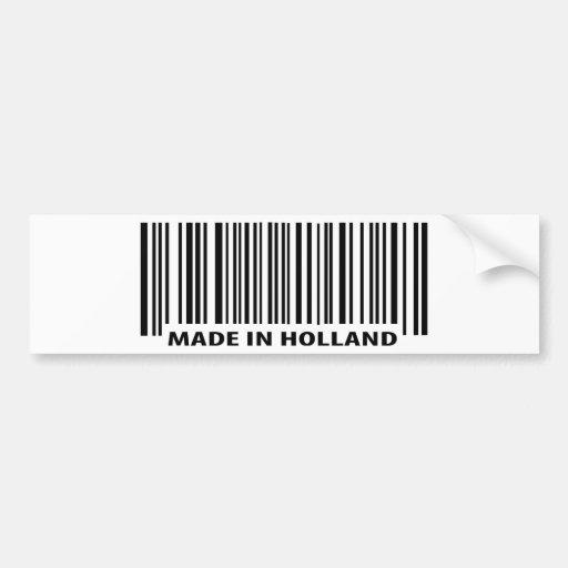 hecho en icono del código de barras de Holanda Etiqueta De Parachoque