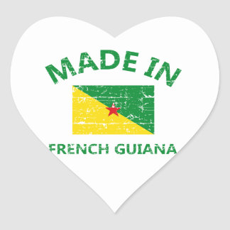 Hecho en la Guayana Francesa Pegatina En Forma De Corazón
