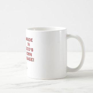 Hecho en la imagen de dios tazas de café
