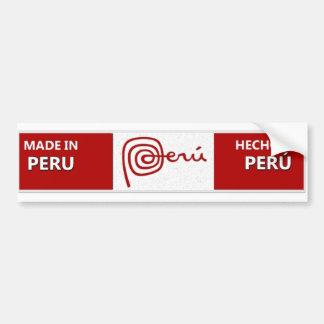 Hecho en la pegatina para el parachoques de Perú - Etiqueta De Parachoque
