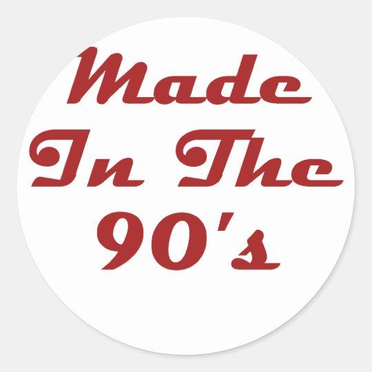 Hecho en los años 90 pegatina redonda