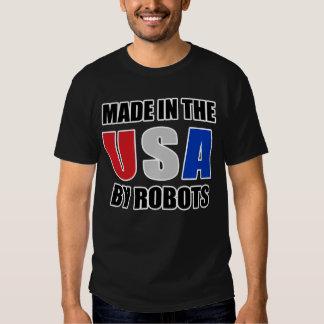HECHO EN LOS E.E.U.U. POR LOS ROBOTS en negro Remeras
