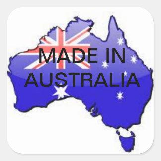 Hecho en los pegatinas de Australia Colcomanias Cuadradass