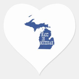 Hecho en Michigan Pegatina En Forma De Corazón