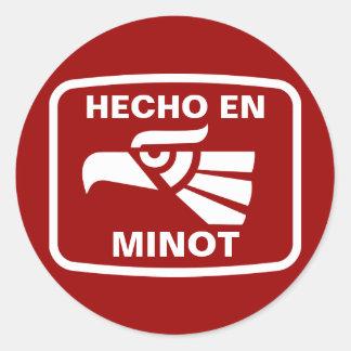 Hecho en Minot  personalizado custom personalized Classic Round Sticker