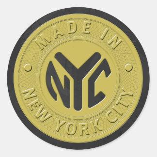 Hecho en Nueva York Pegatina Redonda