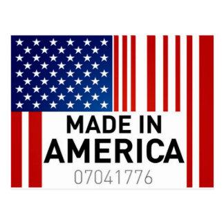Hecho en productos del logotipo de la bandera de postales