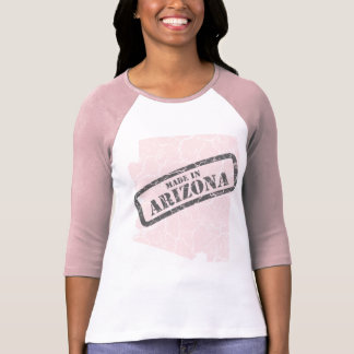 Hecho en raglán rosado de las señoras del mapa del camisetas