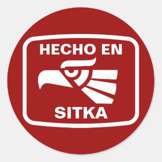 Hecho en Sitka personalizado custom personalized Classic Round Sticker