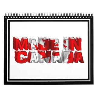 Hecho en texto de la bandera de Canadá Calendario