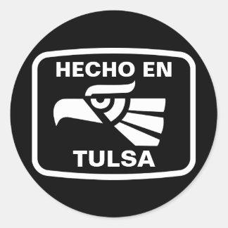 Hecho en Tulsa  personalizado custom personalized Classic Round Sticker