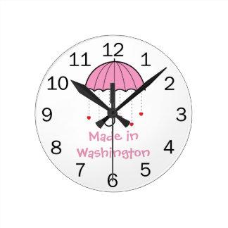 Hecho en Washington - paraguas con los corazones ( Reloj De Pared