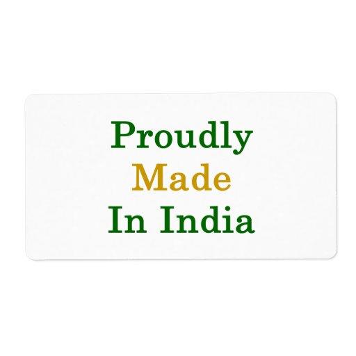Hecho orgulloso en la India Etiquetas De Envío