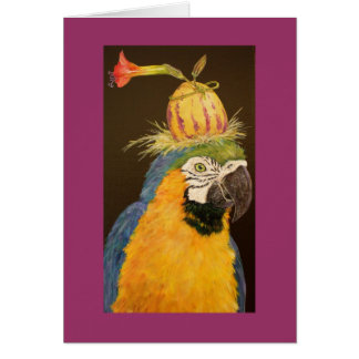 Hector la tarjeta de felicitación del macaw