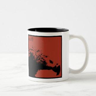 Hector le toma negro azabache del café taza de dos tonos