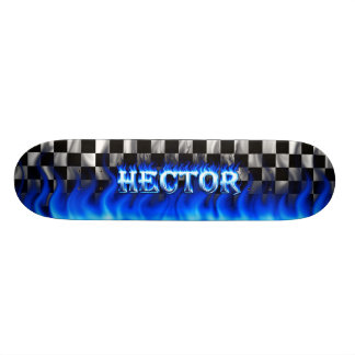 hector skateboard blue fire and flames design