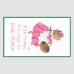 Heddy hedgehog bookplate rectangular sticker