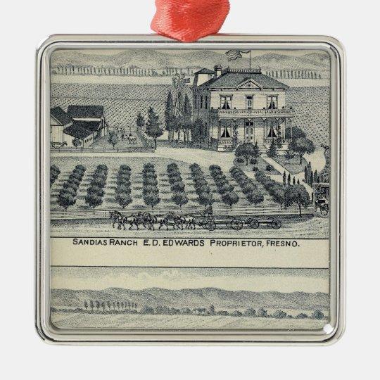 Hedge Row Vineyard, Fresno Metal Ornament