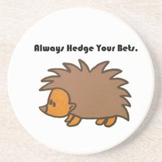 Hedge Your Bets Hedgehog Cartoon Drawing: Drink Coaster