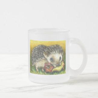 Hedgehog and apple 10 oz frosted glass coffee mug