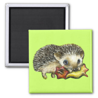 Hedgehog and apple 2 inch square magnet