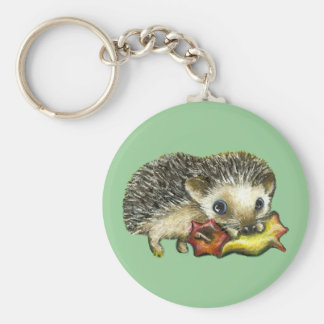Hedgehog and apple basic round button keychain