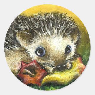 Hedgehog and apple classic round sticker