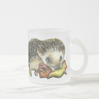Hedgehog and apple frosted glass coffee mug