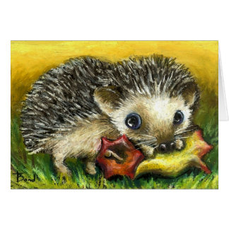 Hedgehog and apple greeting card