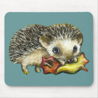 Hedgehog and apple mouse pad