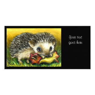 Hedgehog and apple photo card