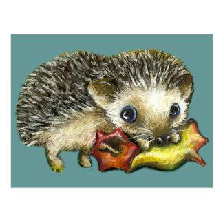 Hedgehog and apple postcards
