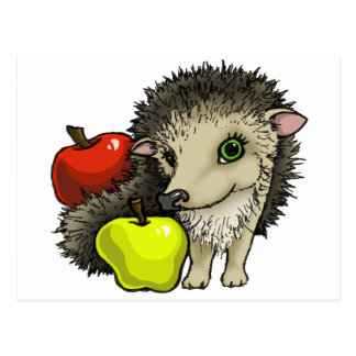 Hedgehog and apples post cards