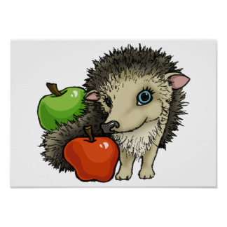 Hedgehog and apples posters