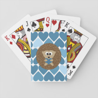 Hedgehog and Blue Hearts Playing Cards