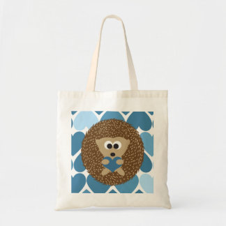 Hedgehog and Blue Hearts Tote Bag