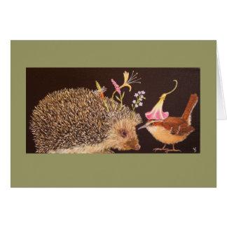 hedgehog and carolina wren card