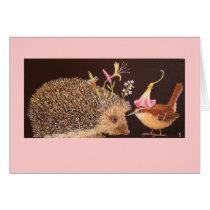 hedgehog and carolina wren, spike and jenna card