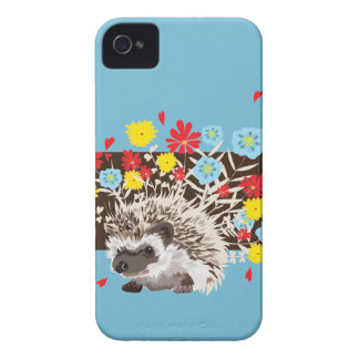 hedgehog and  flowers iPhone 4 cases