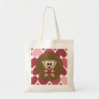 Hedgehog and hearts tote bag