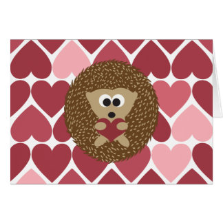 Hedgehog and hearts Valentines Day Card