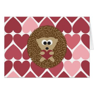 Hedgehog and hearts Valentines Day Greeting Card