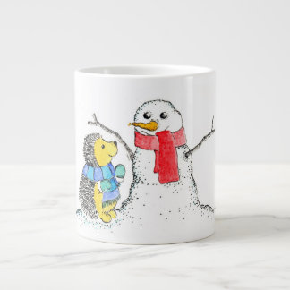 Hedgehog and Snowman 20 Oz Large Ceramic Coffee Mug