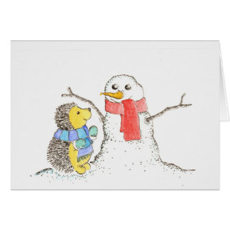 Hedgehog and Snowman Card