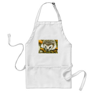 Hedgehog and yummy mushrooms adult apron