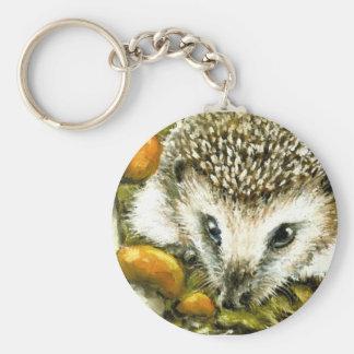 Hedgehog and yummy mushrooms basic round button keychain