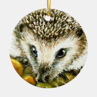 Hedgehog and yummy mushrooms ceramic ornament