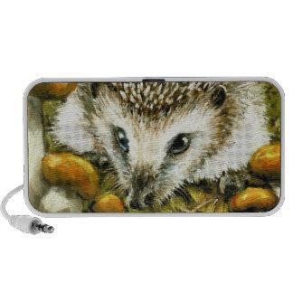 Hedgehog and yummy mushrooms. portable speakers