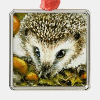 Hedgehog and yummy mushrooms square metal christmas ornament