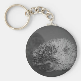 Hedgehog Baby with Easter Egg in Black and White Keychain